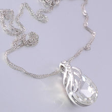 Load image into Gallery viewer, White Gold Plated Necklace with Clear Swarovski Crystal