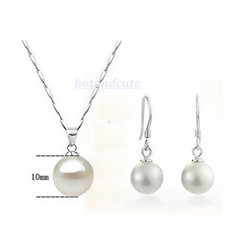 White Gold Plated Pearl Set Earrings Necklace and Pendant