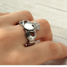 Load image into Gallery viewer, Solid Stainless Steel Silver Heart Crown Ring