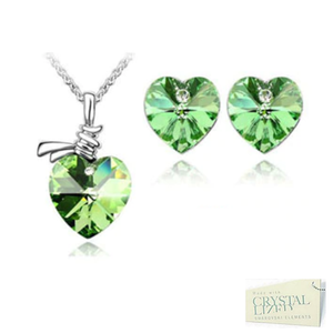 Swarovski Crystals Stainless Steel 316L Heart SET Necklace Matching Earrings