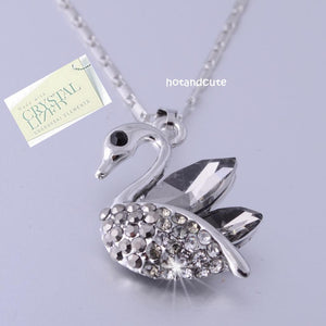 Swarovski Crystals Swan Pendant with 18k White Gold Plated Chain