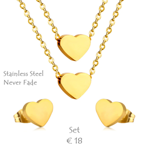 High Quality Stainless Steel 316L Heart SET Multi Layer Necklace with Earrings