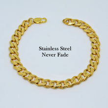 Load image into Gallery viewer, Chunky Solid Stainless Steel 316L Gold Plated Curb Chain Set Necklace Bracelet