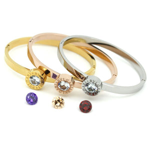 Stainless Steel Interchangeable Rose/White/Yellow Gold Plated Bangle with 4 Swarovski Crystals