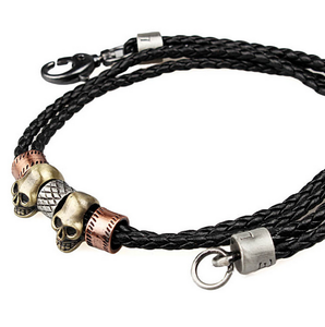 Black Leather and Stainless Steel Skull Necklace