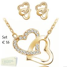 Load image into Gallery viewer, Gorgeous Heart Set in White/ Rose Yellow Gold Plated with Swarovski Crystals Necklace Pendant Earrings
