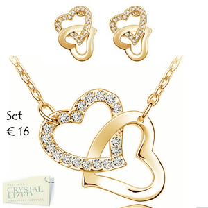 Gorgeous Heart Set in White/ Rose Yellow Gold Plated with Swarovski Crystals Necklace Pendant Earrings