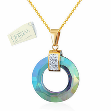Load image into Gallery viewer, Stunning Stainless Steel Swarovski Crystals Yellow Gold Plated Necklace