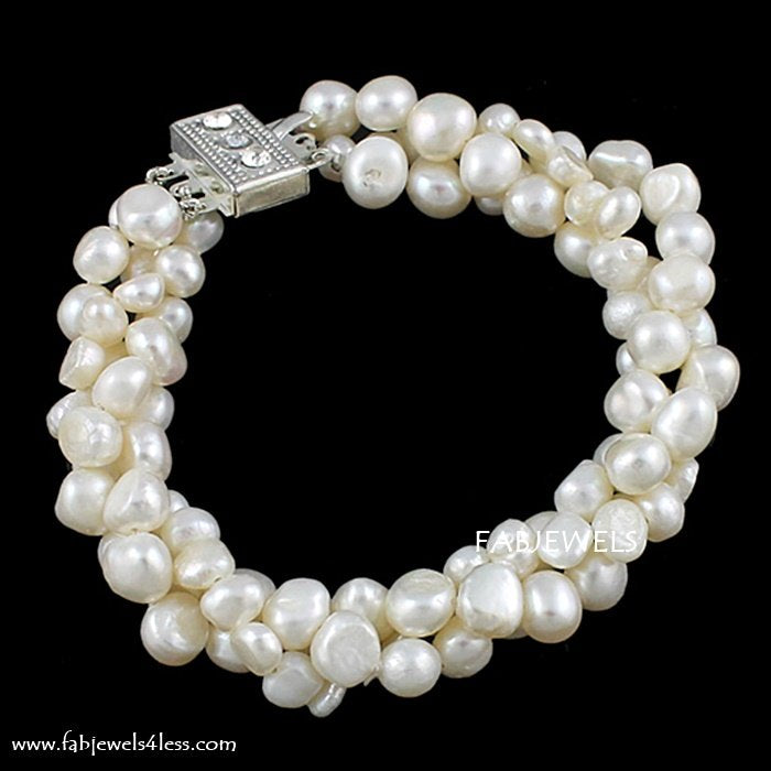 Beautiful Natural Freshwater Pearl 3 Strand Bracelet.