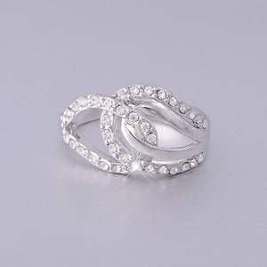 White Gold Plated Ring with Swarovski Crystals