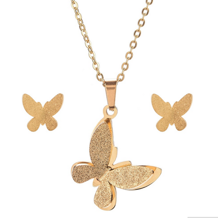 Stainless Steel Yellow Gold Plated Butterfly Set