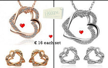 Load image into Gallery viewer, Love Heart Set in White/ Rose Gold Plated with Swarovski Crystals Necklace Pendant Earrings