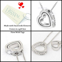 Load image into Gallery viewer, White Gold Plated Double Heart Necklace with Swarovski Crystals