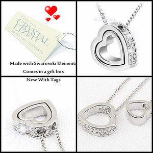 White Gold Plated Double Heart Necklace with Swarovski Crystals