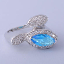 Load image into Gallery viewer, Platinum Plated Ring with Turquoise Swarovski Crystal