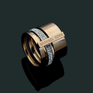 Stainless Steel Stylish Rose Gold Silver Ring with Swarovski Crystals