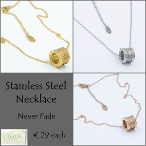 S/Steel Stylish Rose Gold / White Gold / Yellow Gold Plated Necklace with Swarovski Crystals