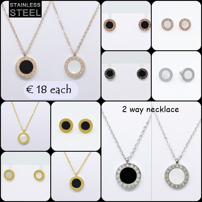 S/Steel Double Sided Necklace Earrings Set with Onyx Mother of Pearl