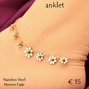 Stainless Steel 316L Rose Gold Anklet with Flowers