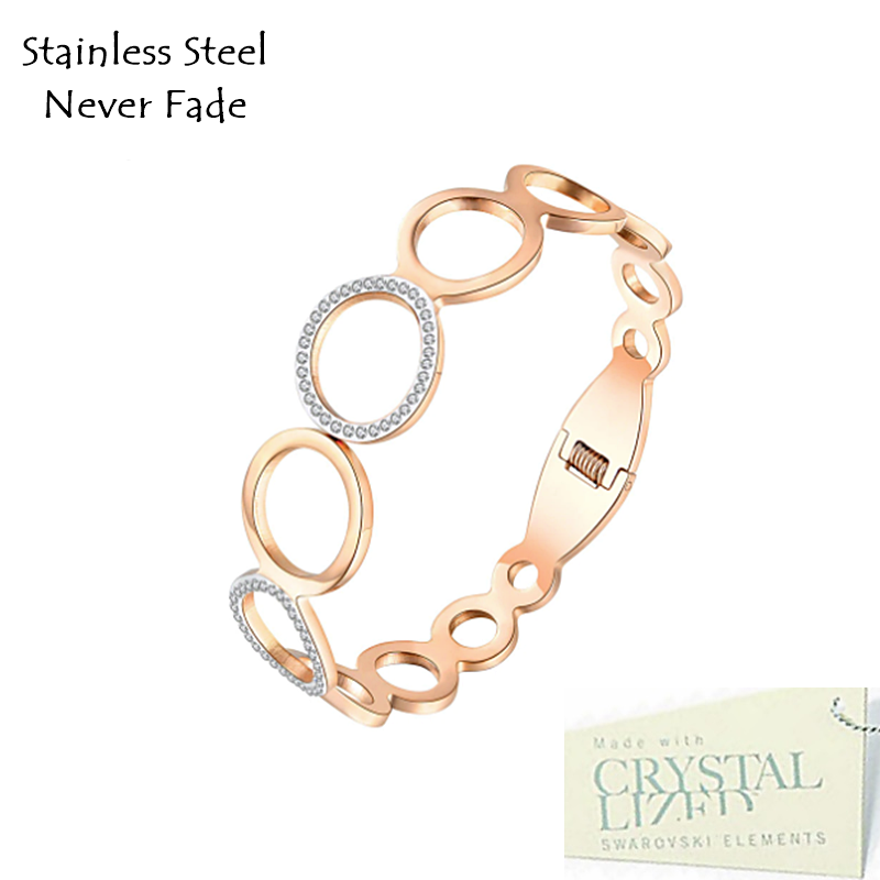Swarovski Crystals Stainless Steel Rose Gold Plated Magnetic Bangle