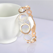 Load image into Gallery viewer, Swarovski Crystals Stainless Steel Rose Gold Plated Magnetic Bangle