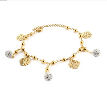 Load image into Gallery viewer, Stainless Steel Yellow Gold Bracelet Heart Butterfly Flower Crystal Ball Charm Bracelet