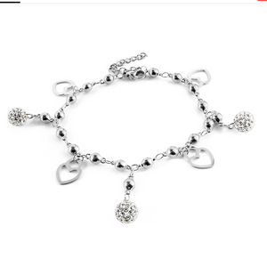 Stainless Steel Yellow Gold Bracelet Heart Butterfly Flower Crystal Ball Charm Bracelet