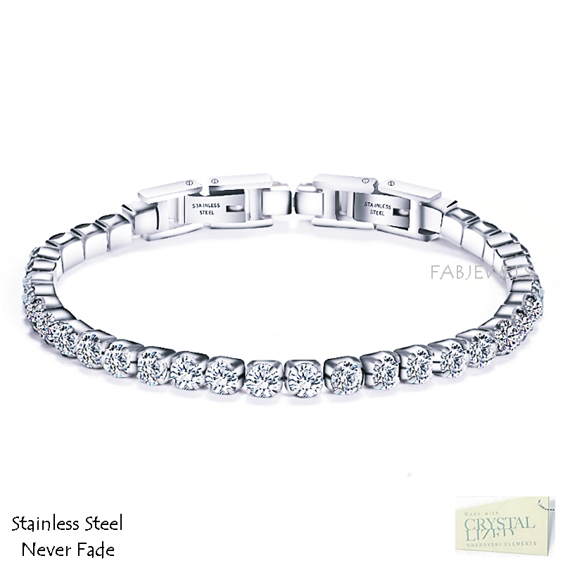 Highest Quality Stainless Steel Tennis Bracelet with Swarovski Crystals