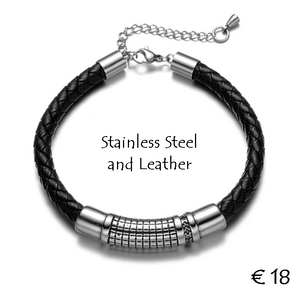 High Quality Genuine Leather and Stainless Steel Bracelet