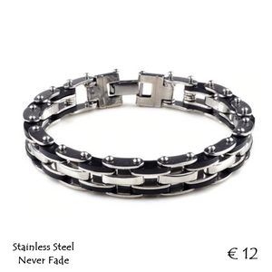 Stainless Steel and Rubber Men's Bracelet