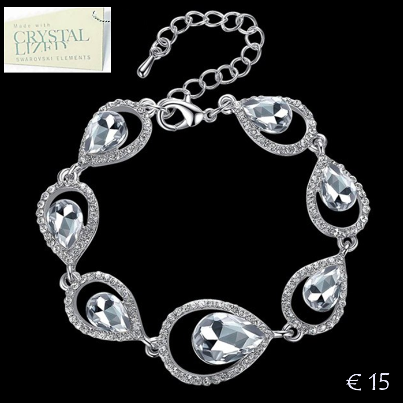 18k White Gold Plated Water Drop Bracelet with Swarovski Crystals