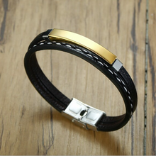 Load image into Gallery viewer, Stylish Black Leather and Stainless Steel Multi Layer Men's Bracelet