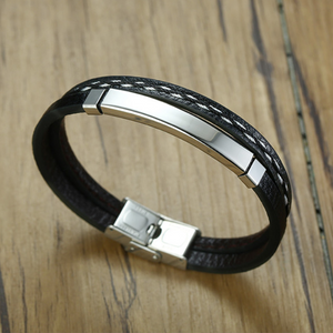 Stylish Black Leather and Stainless Steel Multi Layer Men's Bracelet