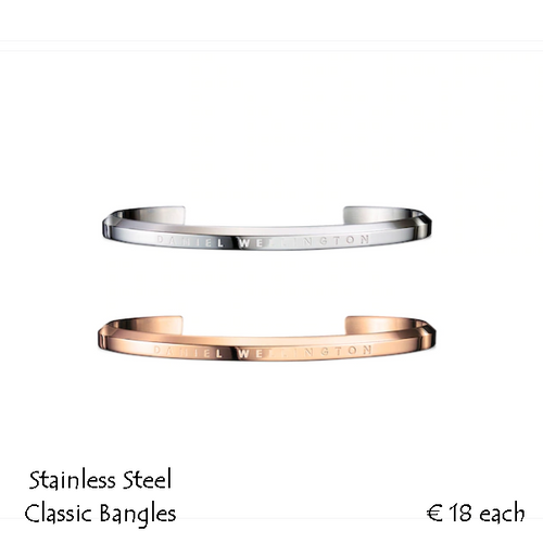Rose Gold Plated or Silver on Stainless Steel Classic Cuff Bracelet.