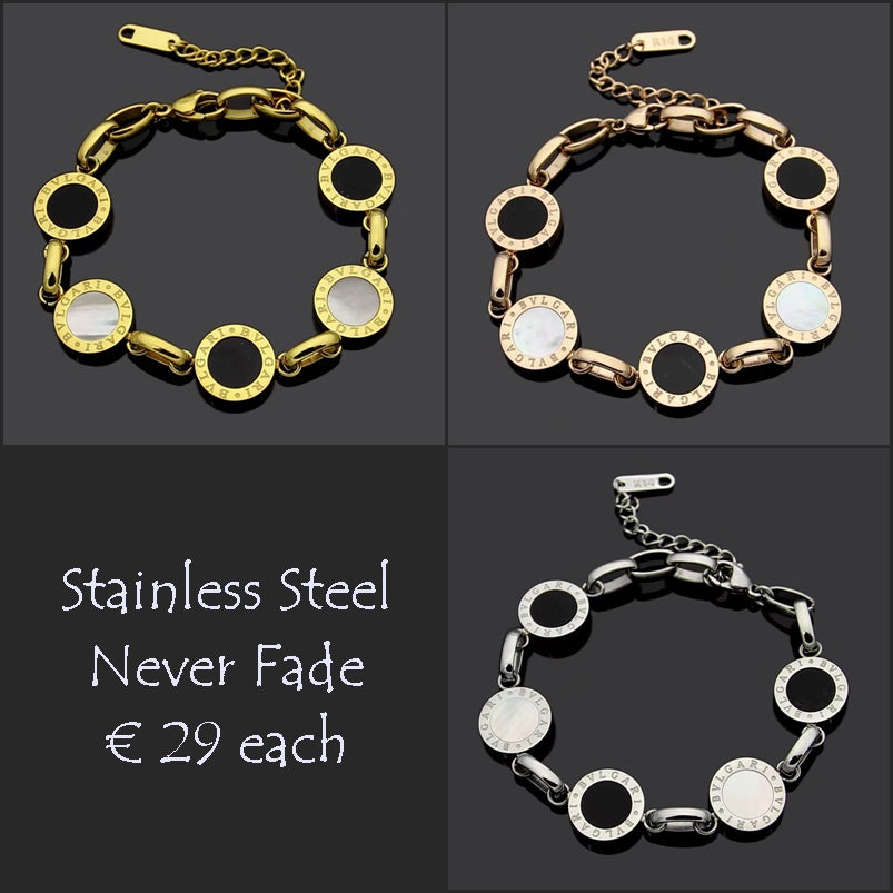 Stainless Steel Rose Gold Yellow Gold Silver Bracelet Nicely detailed with Onyx and Mother of Pearl