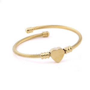 Yellow Gold Rose Gold Plated Silver Twisted Heart Charm Bangle
