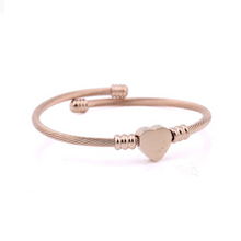 Load image into Gallery viewer, Yellow Gold Rose Gold Plated Silver Twisted Heart Charm Bangle
