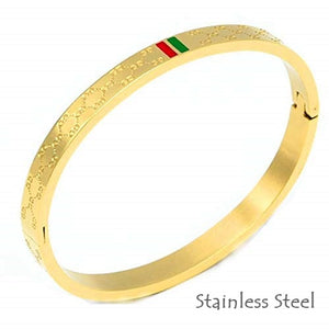 Stainless Steel Solid Yellow/ Rose Gold Plated Silver Bangle Bracelet