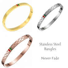 Load image into Gallery viewer, Stainless Steel Solid Yellow/ Rose Gold Plated Silver Bangle Bracelet
