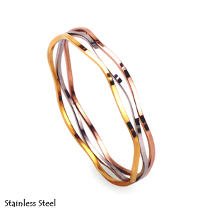 Stainless Steel 3 Colour Multi-layer Yellow/ Rose Gold Plated Silver Bangle