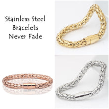 Load image into Gallery viewer, 316L Stainless Steel Yellow/ Rose Gold Plated Silver Magnetic Bracelet