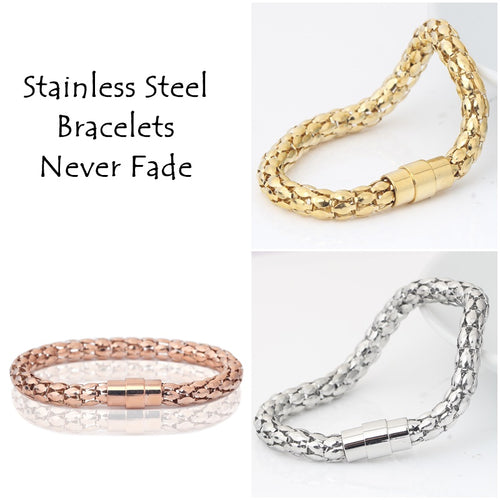 316L Stainless Steel Yellow/ Rose Gold Plated Silver Magnetic Bracelet
