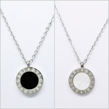 Load image into Gallery viewer, S/Steel Double Sided Necklace or Earrings or Set with Onyx Mother of Pearl