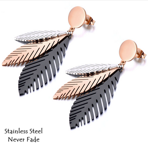 Stainless Steel 3 Colour Long Leave Earrings Hypoallergenic