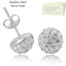 Load image into Gallery viewer, Stainless Steel 316L Hypoallergenic Silver Stud Earrings with Sparkling Swarovski Crystals
