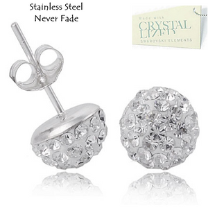 Stainless Steel 316L Hypoallergenic Silver Stud Earrings with Sparkling Swarovski Crystals