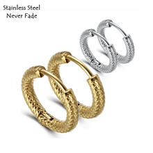 Load image into Gallery viewer, Stainless Steel Yellow Gold Plated Silver Small Hoop Earrings Hypoallergenic