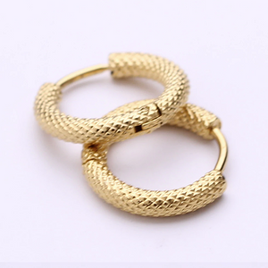 Stainless Steel Yellow Gold Plated Silver Small Hoop Earrings Hypoallergenic