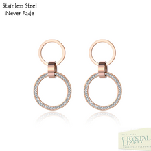 Load image into Gallery viewer, Stainless Steel 316L Hypoallergenic Rose Gold Stud Dangling Earrings with Swarovski Crystals