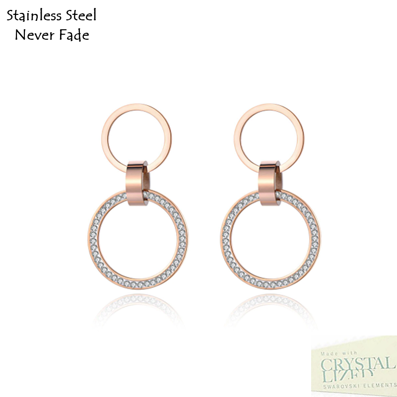 Stainless Steel 316L Hypoallergenic Rose Gold Stud Dangling Earrings with Swarovski Crystals